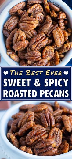 Savory Roasted Pecans Recipe, Spiced Pecans, Roasted Nuts, Sweet And Salty Pecans Recipe, Pecan Recipes, Snack Recipes, Free Recipes, Dessert Recipes, Best Food Gifts