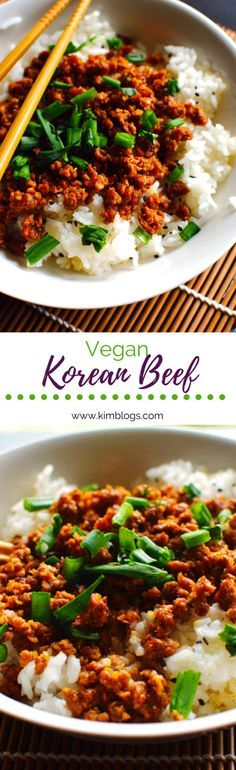 Vegan Korean beef bowls made with gardein beef are super simple and yummy. Grab the crumbles, soy sauce, green onions and more for this simple dinner.