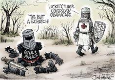 """Columbus (@ColumbusDM)   Twitter   """"Health Care Fight"""" por Joe Heller #CaricaturaDelDía #Cartón #Moneros #FelizLunes #Obamacare #Política #Leyes #EUA #InicioDeSemana"""