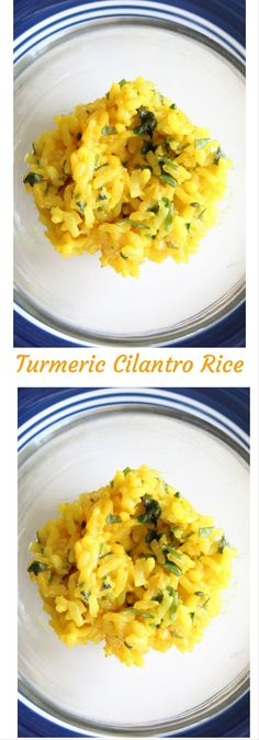 Spice up your rice with this cilantro rice topped with turmeric spice. Easy rice recipe. Click here for the recipe or pin to save for later.