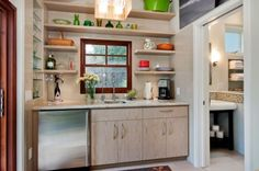 A kitchenette could be described as a tiny kitchen. It's often a part of motel or hotel rooms, small apartments, Kitchen Shelf Design, Kitchen Shelves, Kitchen Storage, Kitchen Cabinets, Kitchen Appliances, Space Kitchen, Kitchen Layout, Kitchen Organization, Compact Kitchen