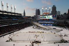 Michigan and Ohio State play an outdoor college hockey game in Cleveland on January (Mark Duncan/Associated Press) Hockey Games, Hockey Mom, Hockey Players, Ice Hockey, Blades Of Glory, Skate Photos, Outdoor Games, Big Picture, Cleveland