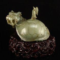 Chinese Hetian Jade Brush Washer -Crane & Dragon Turtle  中國清代 和田玉老玉 獨佔鰲頭 筆洗