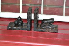 Vintage Wood Bookends Cannon Spanish Handmade Wood by PanchosPorch, $17.50
