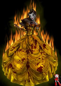 Zombie version of princess belle Creepy Disney, Disney Horror, Evil Disney, Zombie Disney, Punk Disney, Disney Halloween, Halloween Horror, Mickey Mouse Tattoos, Mickey Mouse Art