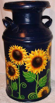 Painted milk can by Ashley Necole Kiser - Milk Cans - Donut decor Painted Milk Cans, Painted Pots, Hand Painted, Milk Can Decor, Old Milk Cans, Milk Jugs, Sunflower Art, Décor Boho, Tole Painting