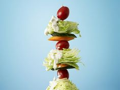 salad...on a stick? can't wait! http://bustleevents.blogspot.com/2010/05/wedding-food-on-stick.html