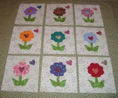 9 Scrappy Heart Flower Quilt  Blocks by MarsyesQuiltShop on Etsy, $13.95