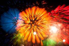 La photographies en exposition longue de feux d'artifice