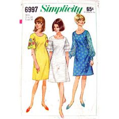 1960s Vintage Dress Pattern Simplicity 6997 by finickypatternshop