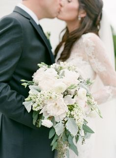 Ivory Rose, Peony, Eucalyptus and Dusty Miller Bridal Flowers Bouquet Wedding Florals Boquette Wedding, Sage Wedding, Burgundy Wedding, Ivory Wedding, Elegant Wedding, Floral Wedding, Wedding Colors, Wedding Dresses, Trendy Wedding