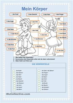 Die SchülerInnen lernen die wichtigsten Körperteile. Durch die Pfeile visualisieren sie wie jeder Körperteil auf Deutsch heißt. Im Raster können sie die Entsprechungen in ihrer Muttersprache aufschreiben. Schließlich können sie die bekannten Kinderbuchfiguren ausmalen, denn Lernen soll auch Spaß machen! - DaF Powerpoints