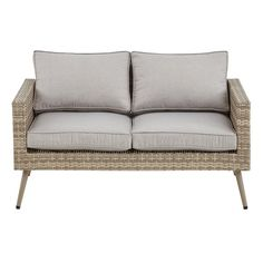 The Avery Loveseat with Cushions brings a fresh style to your outdoor area. Weather and UV resistant wicker wraps the corrosion resistant aluminum frame, ensuring that this outdoor settee is meant to last. The soft cushions are also made from weather and UV resistant fabric that help maintain its color and quality. For added support, the wicker-wrapped aluminum legs include a steel tube inside. Soft hues are met with rich texture, making this outdoor loveseat a great way to give your patio…