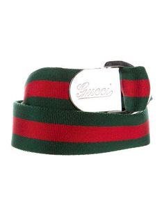 Gucci Silver-Tone Gucci Web Canvas Belt