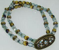 Czech Firepolished 2 tone beads, 2 strand stretch bracelet  http://www.artfire.com/ext/shop/product_view/4993453