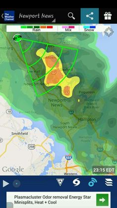 Weather.com App- Severe Thunderstorms and Heavy Rainfall currently happening in Hampton Roads, VA. Please use extreme caution if you have to travel