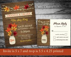 Fall Wedding Invitation Rustic Mason Jar Country by NotedOccasions, $45.00