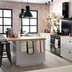 esta cocina combina el modelo de lmpara colgante cavo classic cromo con negro con y la