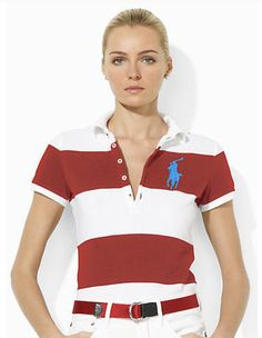 ralph lauren outlet store Women\u0026#39;s Big Pony Striped Short Sleeve Polo Shirt Red / White W