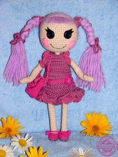 FINISHED DOLL:  Lalaloopsy Amigurumi Doll Lavender hair amigurumi toy / doll gift for girl Fuchsia Purple dress and Bright Ube hair