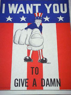 """""""I Want You to Give a Damn"""" Vintage Anti-War Peace Poster 1971"""