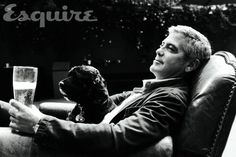 George Clooney poses with dog Einstein in Esquire