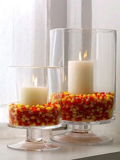Candy Corn to hold Candles in Glass Hurricane Jar