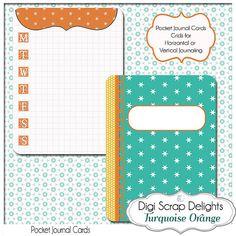 Turquoise Orange 3x4 Journal Cards Pocket by DigiScrapDelights #printable #journal #cards #pocket #projectlife #turquoise #orange