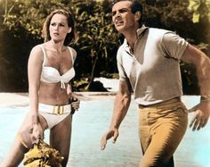 Ursula Andress and Sean Connery in James Bind Movie, 1962.