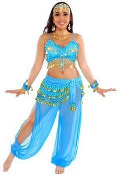 Disney Costume Harem Genie Belly Dancer Costume - JASMINE BLUE / GOLD - This fun belly dancer / harem / genie costume comes with a chiffon Belly Dancer Costumes, Belly Dancers, Dance Costumes, Belly Dancer Halloween Costume, Genie Costume, Jasmine Costume, Aladdin Costume, Cool Costumes, Costumes For Women