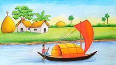 How to draw village scenery with oil pastel - step by step Oil Pastel Drawings, Art Drawings, Beautiful Scenery Drawing, Village Drawing, Landscape Drawings, Natural Scenery, Step By Step Drawing, Drawing S, River