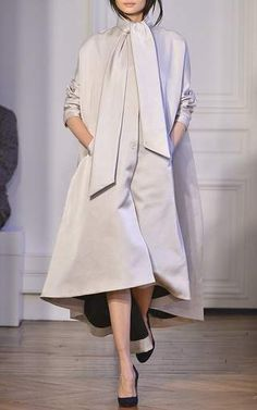Silk Cape Back Coat with Scarf Detail by Martin Grant Now Available on Moda Operandi