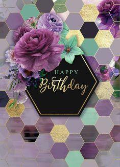 Happy birthday purple bouquet with honeycomb / hexagon background meme / . Happy birthday purple bouquet with honeycomb / hexagon background meme / . Happy Birthday Greetings Friends, Happy Birthday Art, Happy Birthday Wallpaper, Happy Birthday Photos, Birthday Wishes And Images, Birthday Blessings, Birthday Wishes Quotes, Happy Birthday Messages, Happy Birthdays