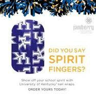 UK Manicures - Spirit fingers! University of Kentucky die hard fans! Get yours today!   Www.karenedwards.jamberrynails.net   Facebook.com/jamnailskaren - for more info on how they work, how long they last, and how affordable they are!