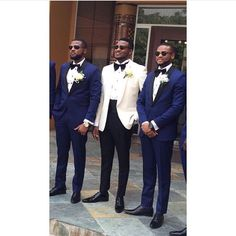 I kind of like the white suited groom with the dark blue groomsmen ~Claire Wedding Tux, Wedding Looks, Wedding Attire, Dream Wedding, Blue Groomsmen, Groom And Groomsmen Attire, African American Weddings, Groom Style, Wedding Styles