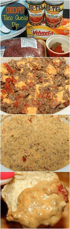 Crockpot Taco Queso Dip / http://myfindsonline.com This is so good!! Perfect for your next party, or if you don't want to share....for yourself!
