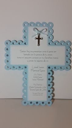 Recuerdo de Bautizo Señalador de libros, bookmark, manualidades, craft, silhouette cameo, scrapbook, recordatorios, tarjetas Baptism Cards, Baptism Favors, Baby Shower Favors, First Communion Invitations, Baptism Invitations, Diy Invitations, Baptism Centerpieces, Crosses Decor, Baby Christening