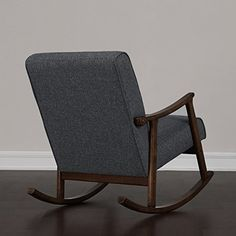 Amazon.com: Granite Grey Fabric Retro Wooden Rocker Glider Chair: Baby