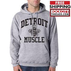 DETROIT MUSCLE HOODIE Hooded Sweatshirt Motor City Graphic Engine Department 313 #RockCityThreads #Hoodie