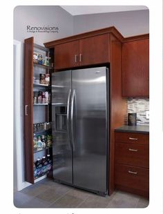 7 Awesome Kitchen Pantry Cabinet Options and Ideas for Efficient Storage Kitchen Designs Photos, Kitchen Images, Kitchen Pictures, Used Kitchen Cabinets, Kitchen Cabinet Colors, Kitchen Storage, Open Shelving Units, Remodeling Companies, Cool Kitchens