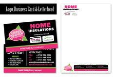 Graphic design of logo, business card and letterhead for Home Insulations. View my full portfolio at: http://www.littleblackbirddesignstudio.co.za/portfolio.html