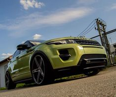 """Range Rover Evoque dynamic  colima lime color (green) low slammed 22"""" wheels"""