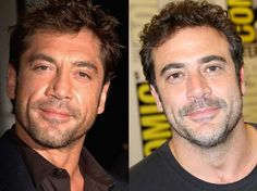 Javier Bardem left; Jeffrey Dean Morgan right  these two are fineeeee specimen and almost identical. Gorgeous!! I love dark scruffy dudes :-)