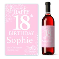 A personalised Happy Birthday wine label, perfect for any age to make you wine gift unique and memorable. For our full range why not visit us at www.justthecard.card.co.uk