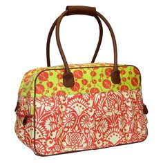 Amy Butler for Kalencom Wanderlust Collection Dream Traveler Carry On Duffle Bag - Sari Flowers Tomato Dream - AB105-SARI-FLOWERS-TOMATO