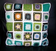 Retro Peggy Square Crochet Cushion Cover