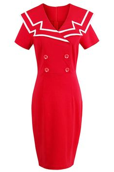 Red Sailor Crew Bodycon Dress