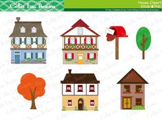 House Clipart, Cute House Clipart set includes 14 cute graphics . Graphics are PERFECT for the Scrapbooking, Cards Design, Stickers, Paper Crafts, Web Design, T-shirt Design...More and more! Whatever your want! [Details] ‧This is a digital download products. (No any physical product