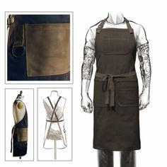 CHOOSE YOUR STYLE - CROSSBACKOR TRADITIONAL SIZING: The full-length apron measures 33 1/2 inches from the chest hem to the bottom hem, and the width is 36 1/2