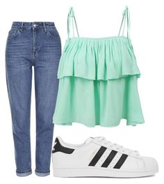 """Untitled #8734"" by xxxlovexx ❤ liked on Polyvore featuring adidas Originals, Topshop and LE3NO"